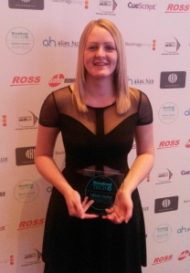 Laura Howarth-Kirke winning Women in Tech Award