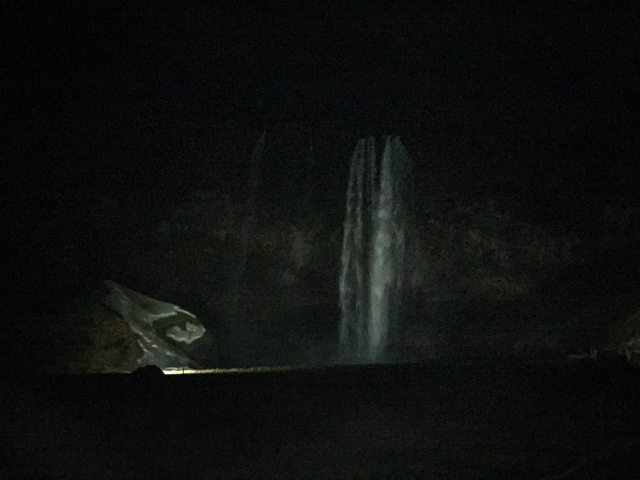 Selandjafoss waterfall in the dark