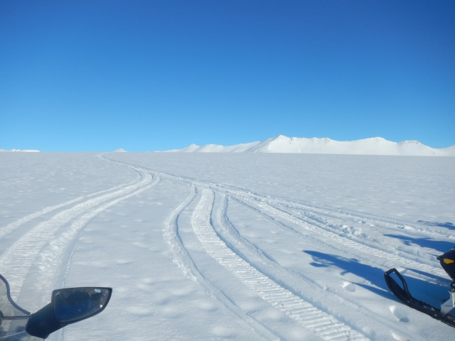 Snowmobiling on a glacier
